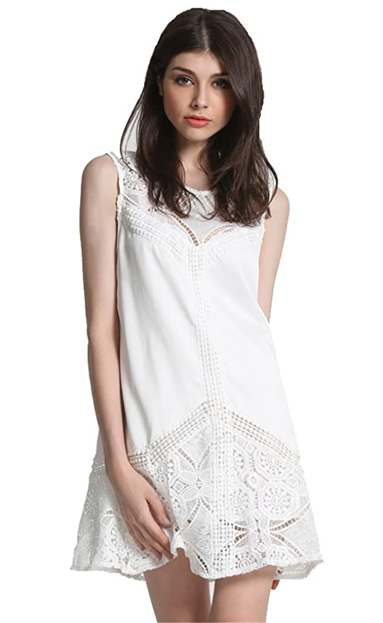 SheIn Women's White Sleeveless Lace Ruffle Dress