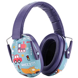 Snug Kids Earmuffs/Hearing Protectors - Adjustable Headband Ear Defenders For Children and Adults (Vroom) (Color: Vroom)