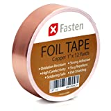 XFasten Conductive Copper Tape, 1-Inch x 12-Yards, Slug Repellent, DIY material, Electronics Repair and Stained Glass Making (Color: Copper, Tamaño: Medium)