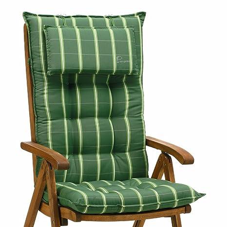 6cojines para respaldo alto en verde rayas Sun Garden Sylt 20426-200