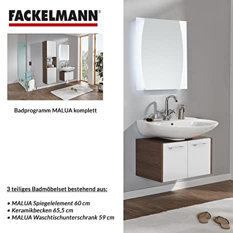 Fackelmann MALUA 3-Piece Bathroom Furniture Set Washbasin / Sink and Mirror
