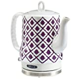Electric Ceramic Kettle, Blue Aztec Design 1.2L - Purple