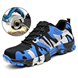 TRUPO Mens Work Safety Shoes Steel Toe Shoes Construction Industrial Puncture Proof Footwear (Color: Camouflage Blue, Tamaño: Men 9.5 US)