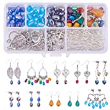 SUNNYCLUE 1 Box DIY 10 Pairs Chandelier Earrings Jewelry Making Starter Kit Instruction, Chandelier Components Connector Charm Pendants, Shell Heart Beads, Earring Hooks Jewelry Findings for Adults (Color: Silver)