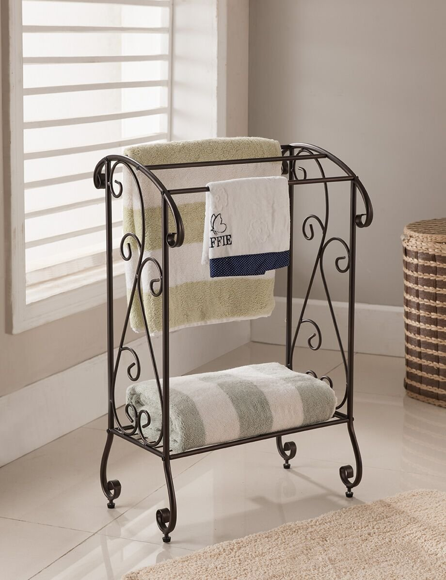 Kings Brand Coffee Brown Metal Free Standing Towel Rack Stand with Shelf