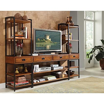 Home Styles 5050-34 Modern Craftsman 3-Piece Gaming Entertainment Center, Distressed Oak Finish