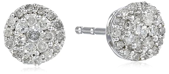 10k-White-Gold-Round-Diamond-Cluster-Earrings-1-4-cttw-I-J-Color-I2-I3-Clarity-