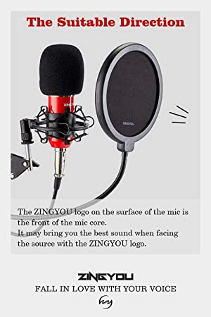 ZINGYOU Condenser Microphone Bundle, ZY-007 Professional Cardioid Studio Condenser Mic include Adjustable Suspension Scissor Arm Stand, Shock Mount and Pop Filter, Studio Recording & Broadcasting (Color: Aurora Red, Tamaño: Medium)