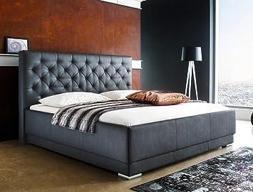 Polsterbett Solea Kunstleder schwarz Boxspring-Optik Doppelbett Ehebett Bett Bettgestell, Liegefläche:160 x 200 cm