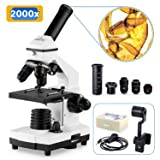 200X-2000X Microscopes for Kids Students Adults, with Microscope Slides Set, Phone Adapter, Powerful Biological Microscopes for School Laboratory Home Science Education (Color: 3006A)