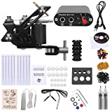 Shark Complete Tattoo Starter Kit 1 Machines Gun Power Supply Needles Grips Tips.