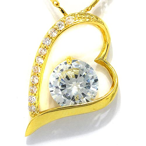 Simulated Diamond CZ Heart Yellow Tone Pendant with 18Necklace