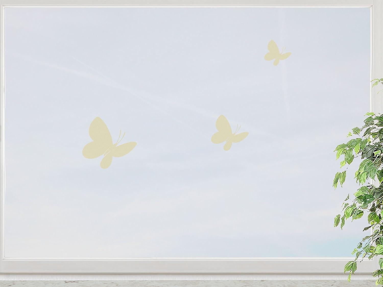 wandfabrik – Fenstersticker Schmetterlinge 3 Stück Motiv 7 – yellow – 708 – (Xt) günstig kaufen
