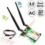 Ubit Wireless Network Card, Wireless WiFi Dual Band Gigabit Adapter, 867Mbps 2.4Ghz-300Mbps/5Ghz-867Mbps with High-gain Antenna Bluetooth 4.0 PCI-E Wireless WiFi Network Adapter (Color: WIE7265)