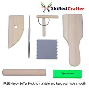 Skilled Crafter Clay Tools Set. Premium Quality Detailing, Modeling, Sculpting & Pottery Wheel Tools. 22 Piece Wood/Metal Kit. Free Sponge! Deluxe Set Best for Potters/Artists of Ceramic, Sculpey etc (Tamaño: 1 Set)