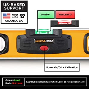MOTORHEAD 12-Inch 0° & 90° Degree SMART LED Torpedo Level, Water, Dust & Shock Resistant, Magnetic Bottom, Includes Bag, High-Visibility, Solid Milled Aluminum, USA-Based Support (Color: Smart LED Level, Tamaño: 12)
