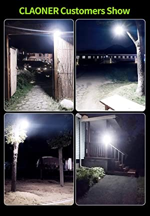 CLAONER?140 LED/4 Packs?Solar Motion Sensor Lights, Wireless Solar Lights Outdoor IP65 Waterproof Security Solar Wall Lights, with 3 Modes for Front Door, Garden, Yard, Garage-2400 Lumens (Color: Cool White, Tamaño: 4PACK-140LED)