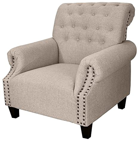 Tufted Upholstered Armchair in Beige