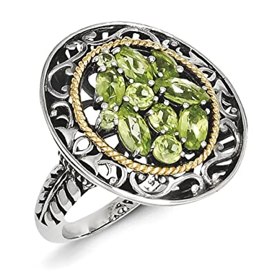 Sterling Silver With 14ct Peridot Ring - Ring Size Options Range: L to P
