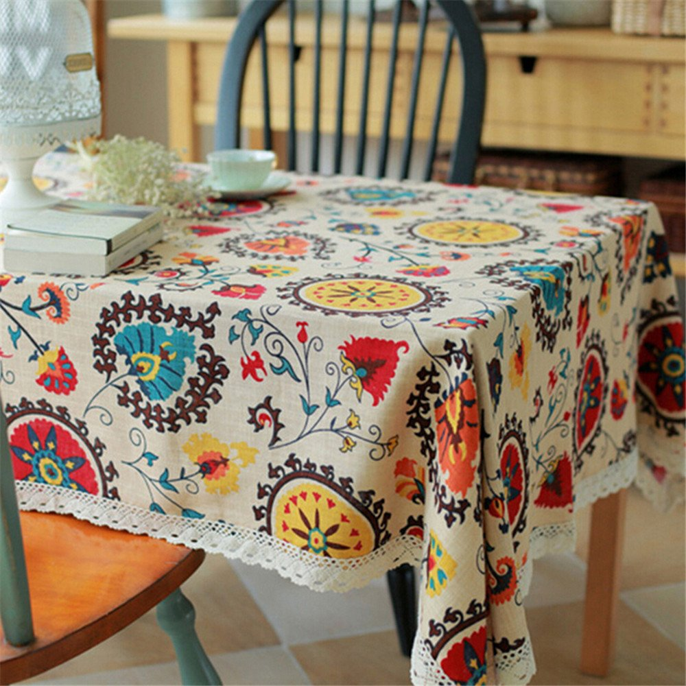 Superwinger Vintage Lace Sun Flower Tablecloth,Linen Embroidered Rectangle Washable Dinner Picnic Table Cloth,Assorted Size. 0