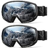 OutdoorMaster Kids OTG Ski Goggles - 2-Pack Over Glasses Kids Ski Goggles, 100% 400UV Protection - for Kids & Youth - (2 Pack) Black/Grey (VLT 10%) (Color: (2 Pack) Black/Grey (VLT 10%))
