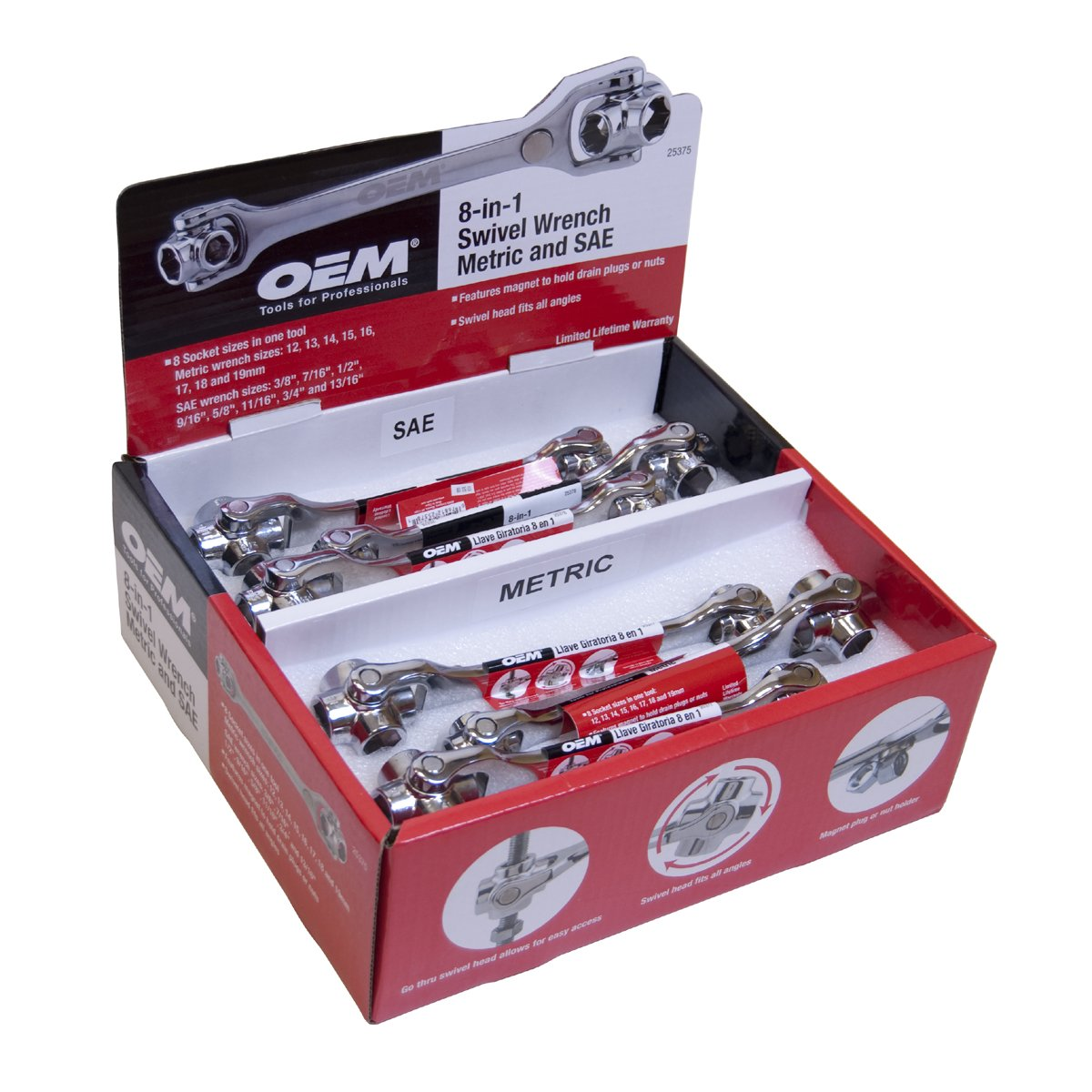 Great Neck OEM 25375 8-in-1 Multi Swivel Oil Wrench Display
