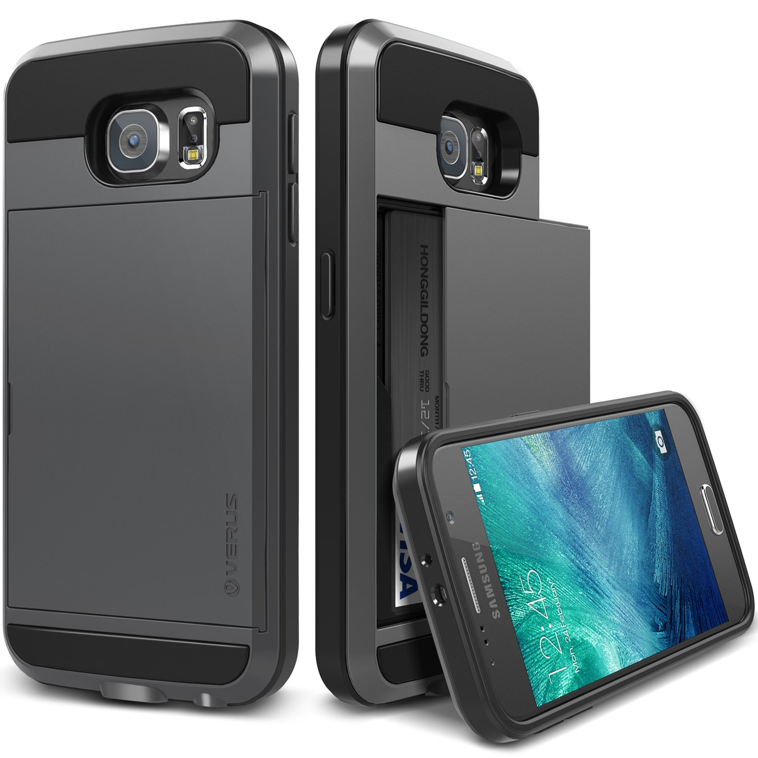 Galaxy S6 Case, Verus (Card Slot Case) Samsung Galaxy S6 Case (Damda Slide)(Dark Silver) Dual Layer Protective Card Case - Verizon, AT&T, Sprint, T-Mobile, International, and Unlocked - Cover for Samsung Galaxy SVI SM-G925F Early 2015 Model