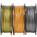 Metallic Gold/Silver/Bronze 3D Printer PLA Filament Bundle, 1.75mm+/-0.03mm Widely Compatible, Each Spool 0.5kg, Total 1.1kgs, with One 3D Print Tool Mika3D (Color: Metal Golden Metal Silver Metal Bronze)
