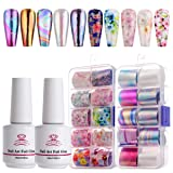 Makartt Nail Art Foil Glue Gel with Stickers Set Rose Flowers Metal Nail Transfer Gel Tips Manicure Art DIY 15ML, 20PCS (2.5cm100cm) Stickers, UV LED Lamp Required