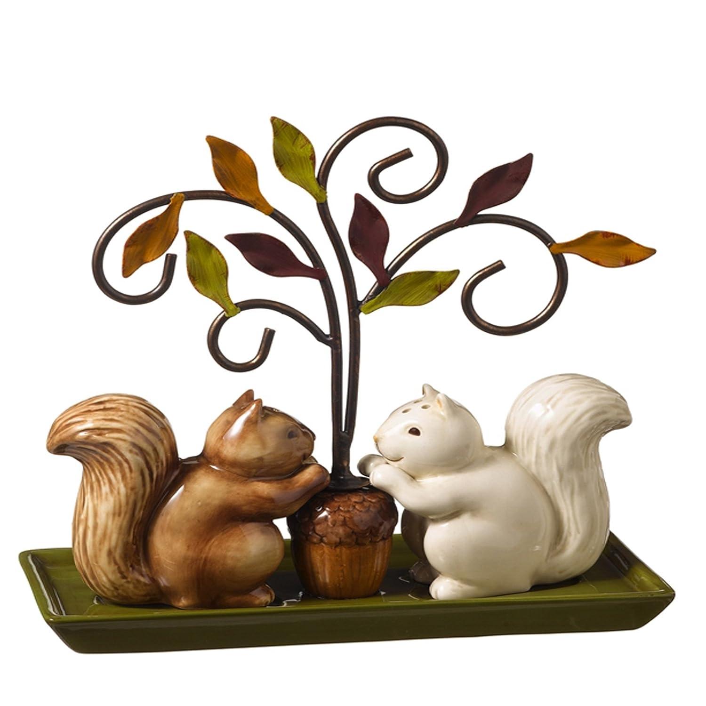 Squirrel Salt & Pepper Set Tree Holder Stand Autumn Fall Gift by Grasslands Road