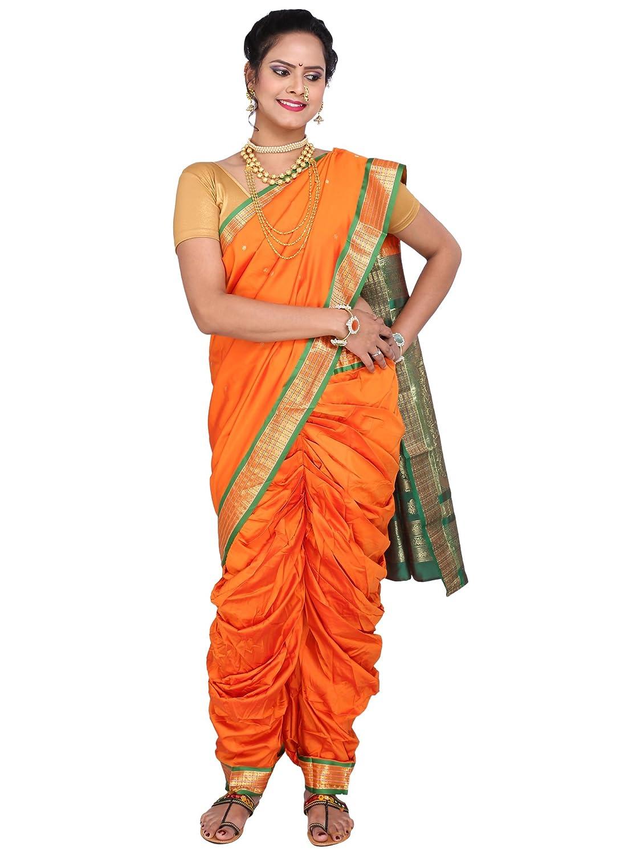 Traditional Kolhapuri Nauvari Saree - Orange Color