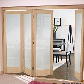 "Green Tree Doors Oak Shaker 1 Light Frosted Bifold System (533mm (21"") - 3 Doors)"