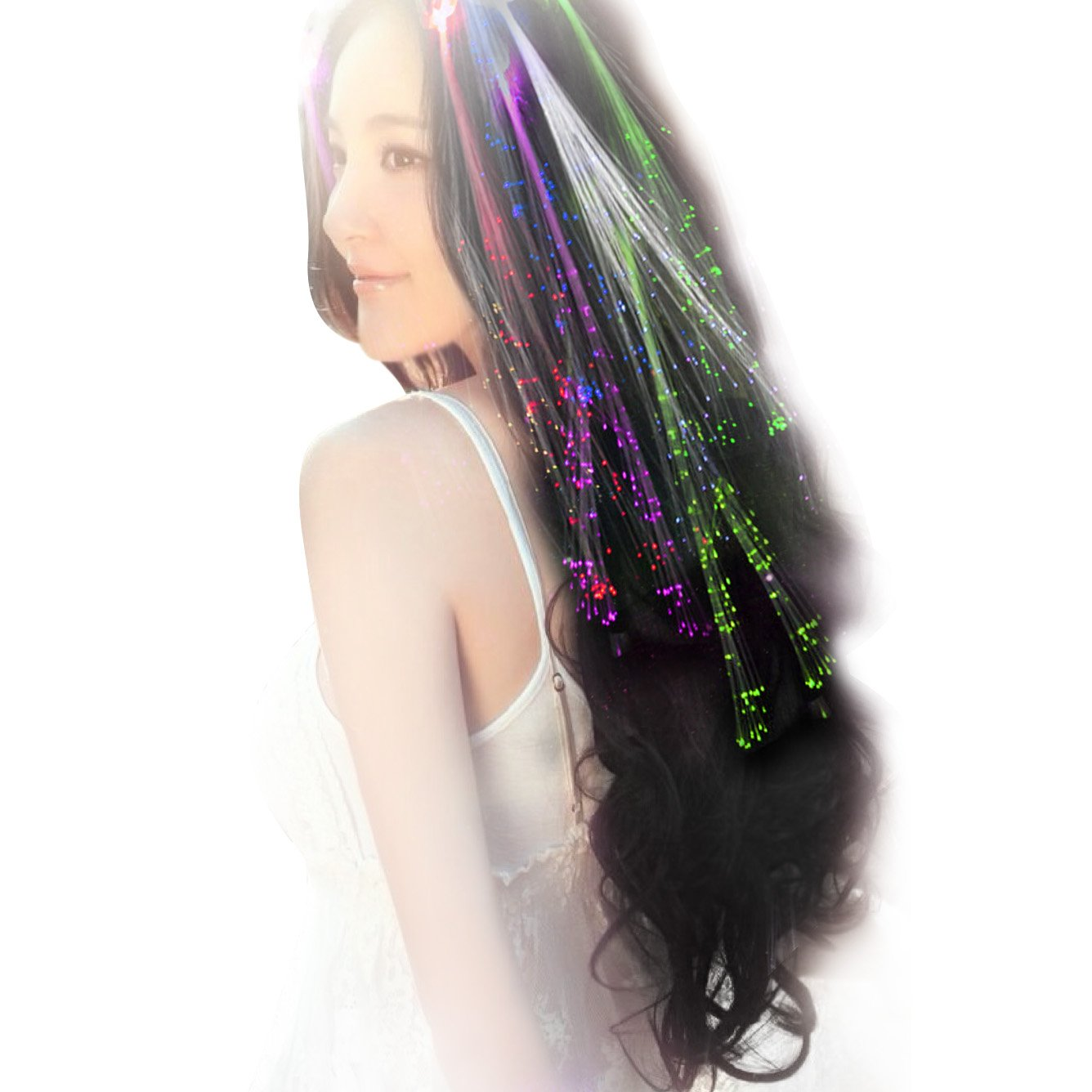 Acooe 10 Pack LED Multicolored Fiber Optic Lights up Flashing Hair, Light Up Toys, Barrettes for Party, Bar Dancing Hairpin, Hair Clip
