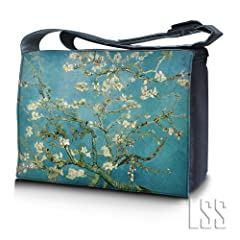 LSS 17 17.3 inch Laptop Padded Compartment Shoulder Messenger Bag Carrying Case for 16 17 17.3 or Smaller Size Notebook - Almond Trees