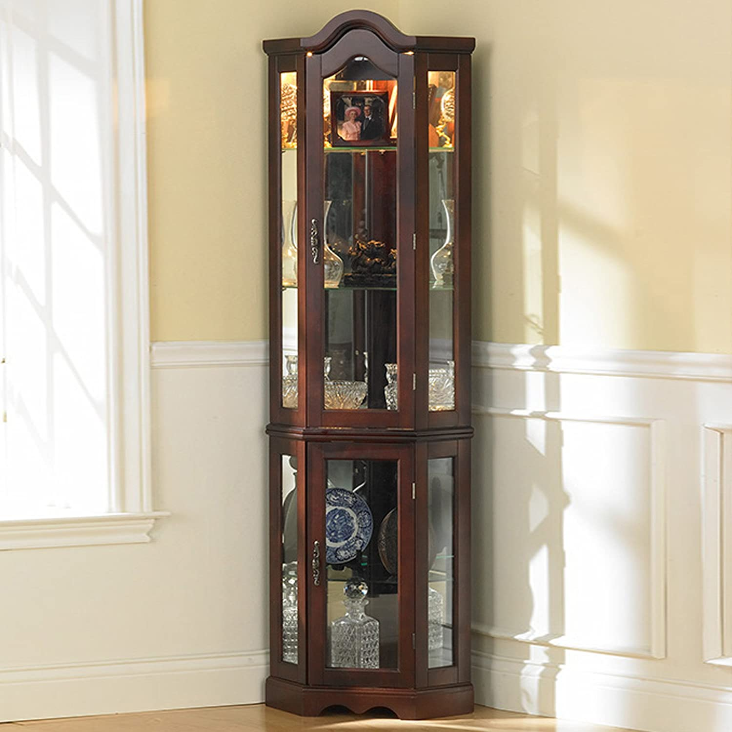 cabinet corner curio wood glass door shelf trophy furniture lighted display new ebay. Black Bedroom Furniture Sets. Home Design Ideas