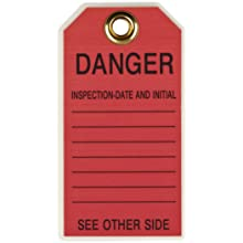 "Brady 86453 5-3/4"" Height, 3"" Width, B-852 Reusable Dura-Tag, Black On Red Color Scaffolding Tags (Pack Of 10)"