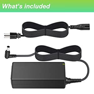 For Samsung 19V LCD LED HDTV TV Plasma DLP Monitor Power Cord Charger Replacement Adapter Supply for A4819-FDY UN32J UN22H 22 32 BN44-00837A A6619_FSM, HW-M360, HW-M360/ZA Soundbar, 19V AC DC 8.5Ft. (Color: Black, Tamaño: 7.5 x 4.8 x 2 inches)