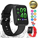 Smart Watch,Bluetooth Smartwatch Fitness Watch Wrist Phone Watch Touch Screen IP67 Waterproof Fitness Tracker with Heart Rate Monitor Pedometer Sports Activity Tracker Watch for Men Women Kids Black (Color: Black)