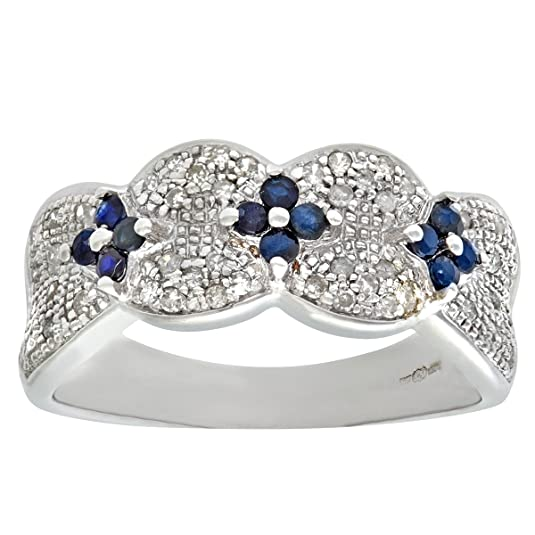 Naava 9ct White Gold Sapphire And Diamond Flower Ring