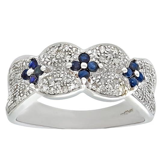 Naava 9ct White Gold Sapphire And Diamond Flower Ring