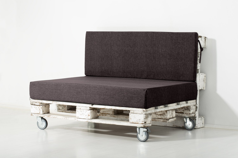 PALEMARE Palettenkissen Matratzenkissen RG50 Polsterstoff 120x80x10cm (Set: Sitzkissen + Rückenlehne) Outdoor Bezug Grau Graphite waschbar kaufen