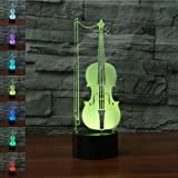 Violin 3D Illusion Birthday Gift Lamp, Gawell 7 Color Changing Touch Switch Table Desk Decoration Lamps Mother's Day Present with Acrylic Flat & ABS Base & USB Cable Toy for Music Lover (Color: Violin Lamp)