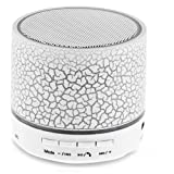 Mini Bluetooth Speaker,Lonchan Wireless Portable Sound Box Subwoofer Speaker with Mic & Colorful LED Light,Support USB/AUX/TF Card/FM Music,White
