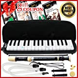 Melodica Keyboard Wind Instrument with Mouthpiece (32-Keys) Beginners Learn to Play Music, Sounds, Songs | Includes Training Ebooks and Soprano Recorder (Black)