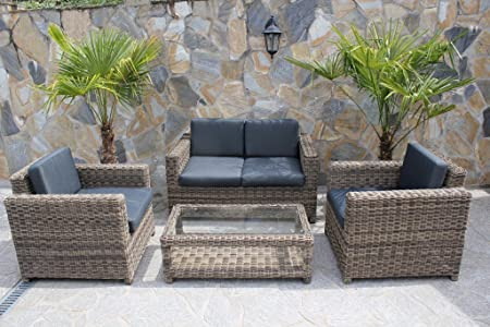 4 tlg Garnitur Polyrattan Premont 1 grau braun Gartenlounge Gartenmöbel Gartengarnitur Sofa
