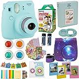 Fujifilm Instax Mini 9 Camera Ice Blue (USA) + Accessories kit for Fujifilm Instax Mini 9 Camera Includes Instant Camera + Fuji Instax Film (20 PK) Galaxy Case + Frames + Selfie Lens + Album and More (Color: Ice Blue Sky)