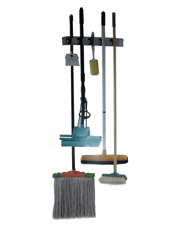 Mop Closet : Details about Garage Closet Kitchen Wall Broom Mop Holder Garden Tools ...