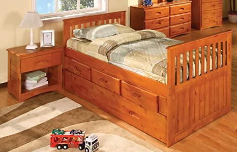 Twin Rake Bed with 3 Drawers and Trundle, Desk, Hutch, Chair and Entertainment Dresser in Honey Finish