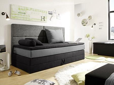 PATRON Boxspringbett 90x200 cm, schwarz/grau