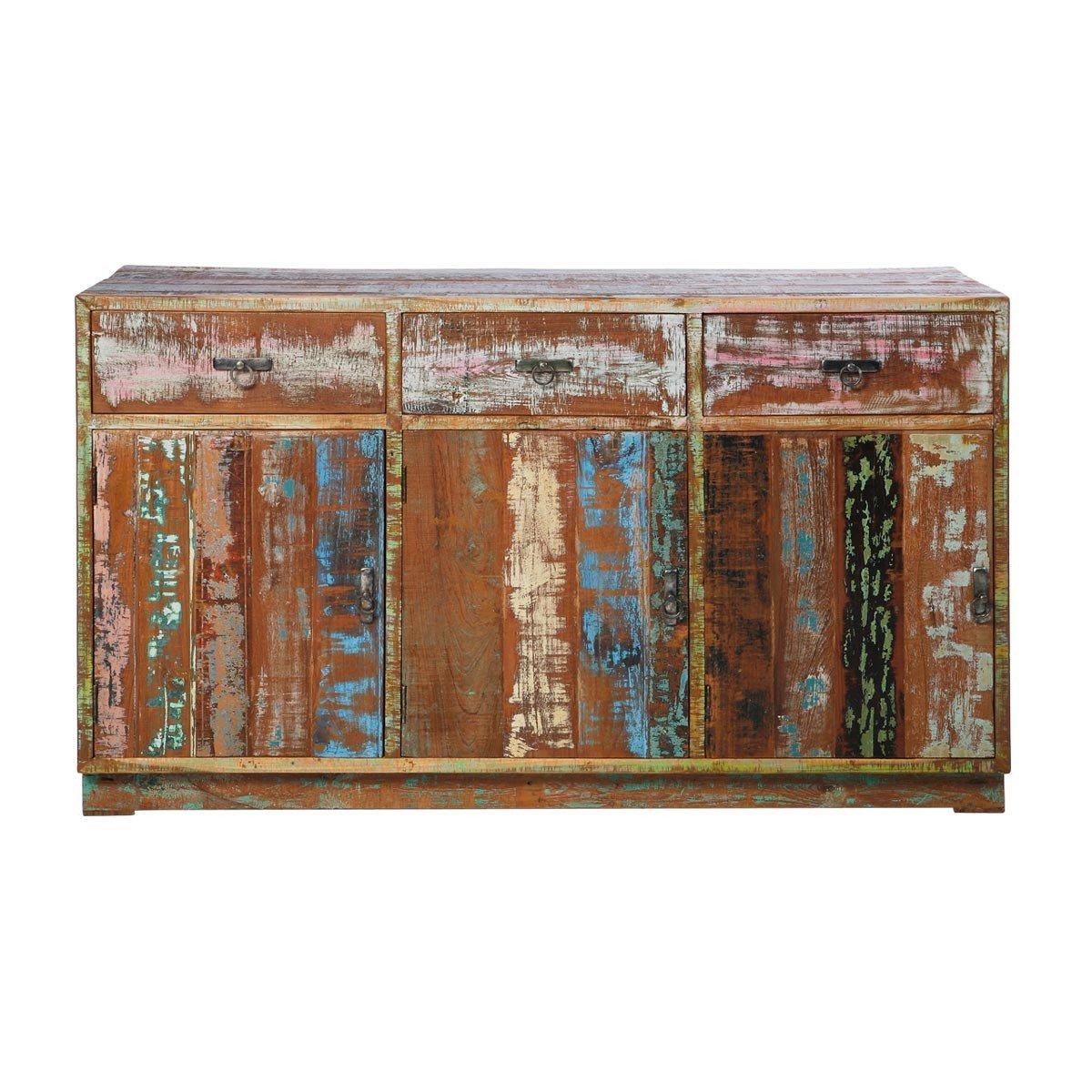 Sideboard Anrichte Kommode Vintage Colore, Kare Design, Recyclingholz Teakholz Massivholz Teak, Breite 150 cm, Tiefe 45 cm, Höhe 88 cm
